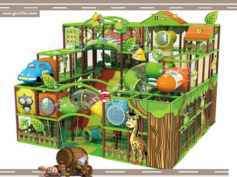 森林淘气堡是以绿色为主题,模仿童话世界里的森林打造出来的一款新型淘气堡