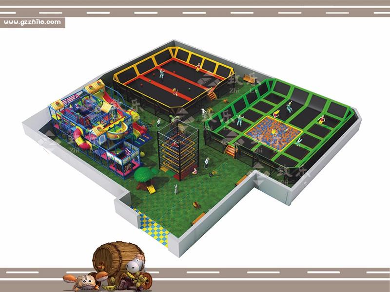 儿童乐园游乐设备-大型蹦床乐园